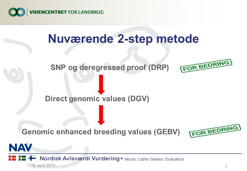 Nordisk Avlsværdi Vurdering Nordic Cattle Genetic Evaluation Nuværende 2-step metode 19.