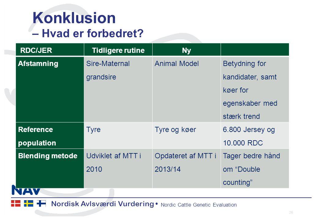 Nordisk Avlsværdi Vurdering Nordic Cattle Genetic Evaluation Konklusion – Hvad er forbedret.