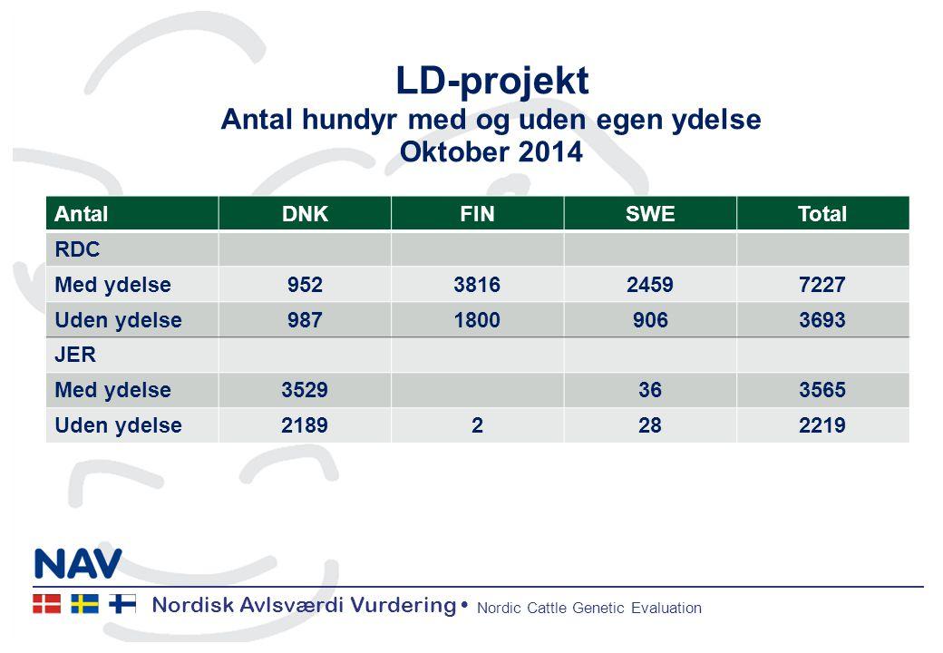 Nordisk Avlsværdi Vurdering Nordic Cattle Genetic Evaluation LD-projekt Antal hundyr med og uden egen ydelse Oktober 2014 AntalDNKFINSWETotal RDC Med ydelse952381624597227 Uden ydelse98718009063693 JER Med ydelse3529363565 Uden ydelse21892282219
