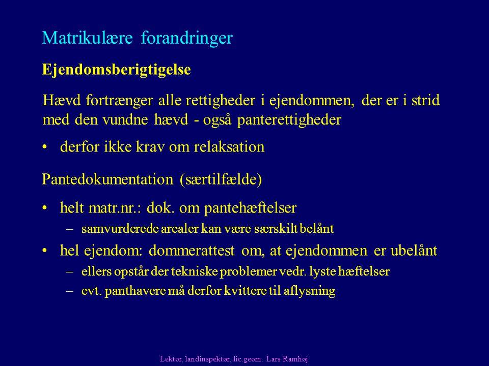 Matrikulære forandringer derfor ikke krav om relaksation Ejendomsberigtigelse Pantedokumentation (særtilfælde) Lektor, landinspektør, lic.geom.
