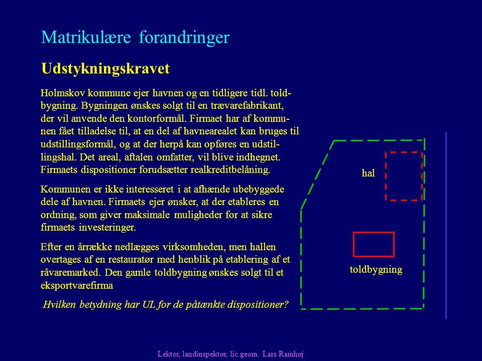 Matrikulære forandringer Udstykningskravet Holmskov kommune ejer havnen og en tidligere tidl.