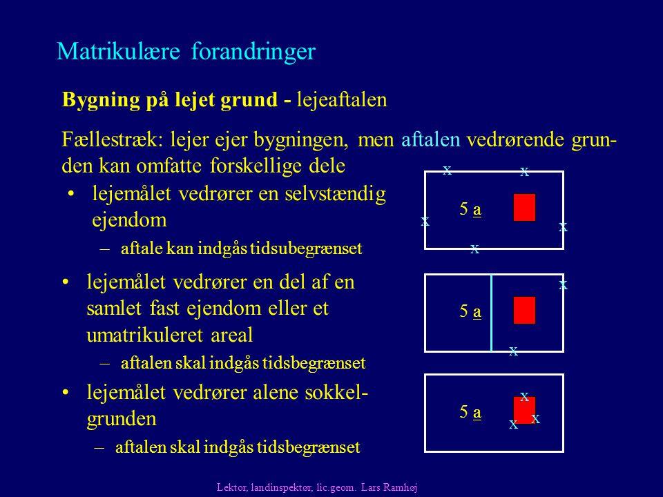 Matrikulære forandringer Bygning på lejet grund - lejeaftalen Fællestræk: lejer ejer bygningen, men aftalen vedrørende grun- den kan omfatte forskellige dele Lektor, landinspektør, lic.geom.