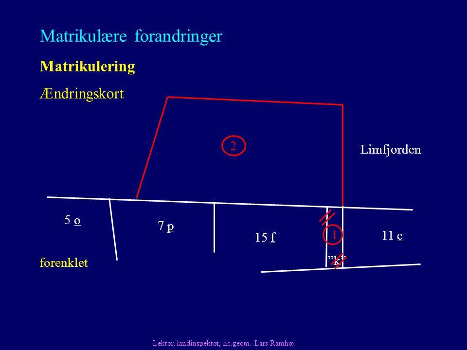 Matrikulære forandringer Matrikulering Ændringskort Lektor, landinspektør, lic.geom.
