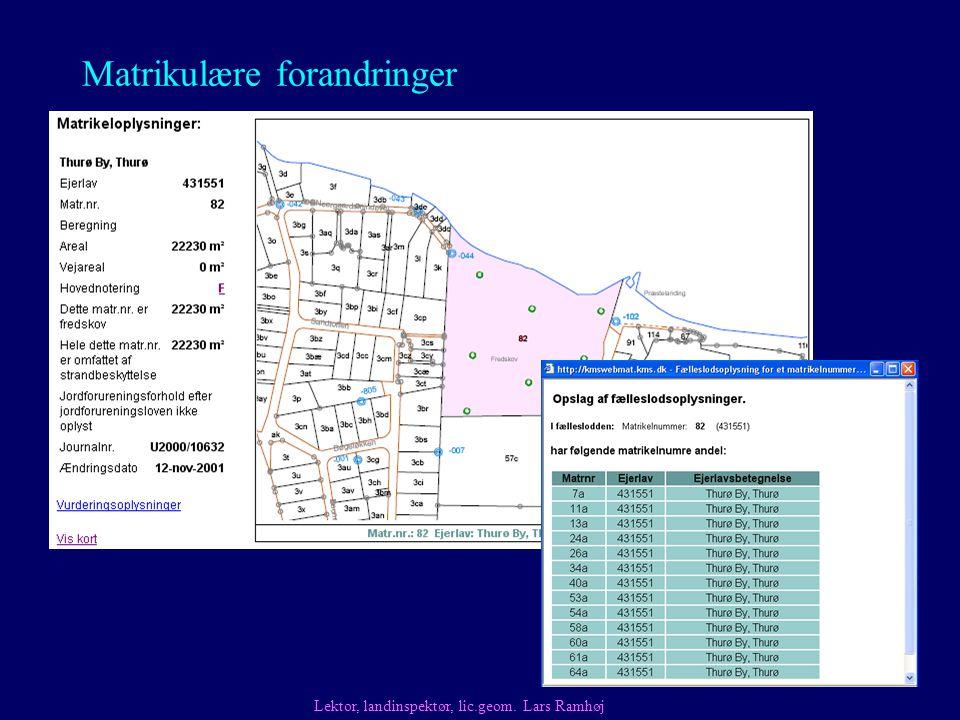 Matrikulære forandringer Fælleslodder Lektor, landinspektør, lic.geom. Lars Ramhøj