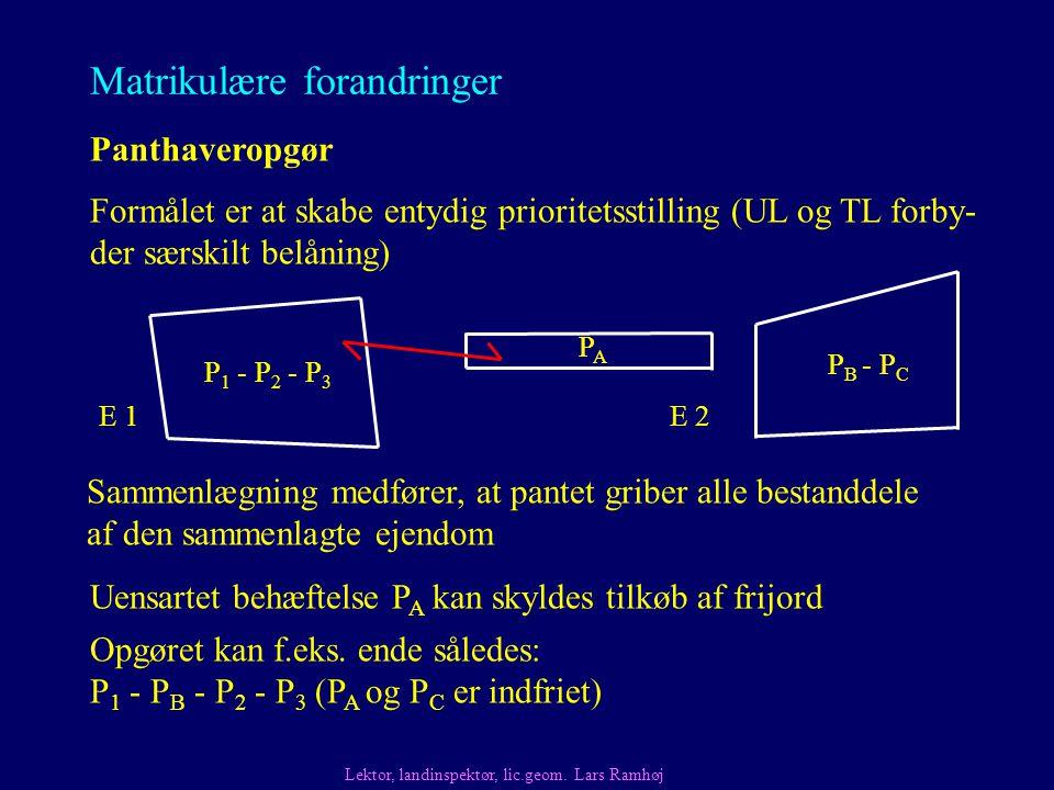 Matrikulære forandringer Panthaveropgør Uensartet behæftelse P A kan skyldes tilkøb af frijord Formålet er at skabe entydig prioritetsstilling (UL og TL forby- der særskilt belåning) Lektor, landinspektør, lic.geom.