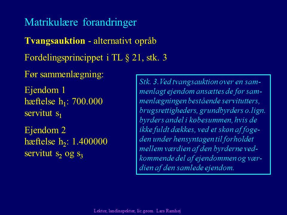 Matrikulære forandringer Tvangsauktion - alternativt opråb Fordelingsprincippet i TL § 21, stk.
