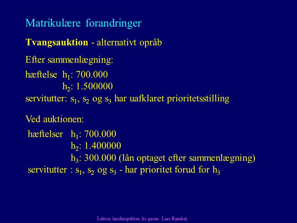 Matrikulære forandringer Tvangsauktion - alternativt opråb Lektor, landinspektør, lic.geom.