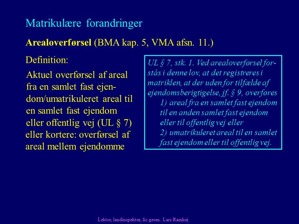 Matrikulære forandringer Arealoverførsel (BMA kap.
