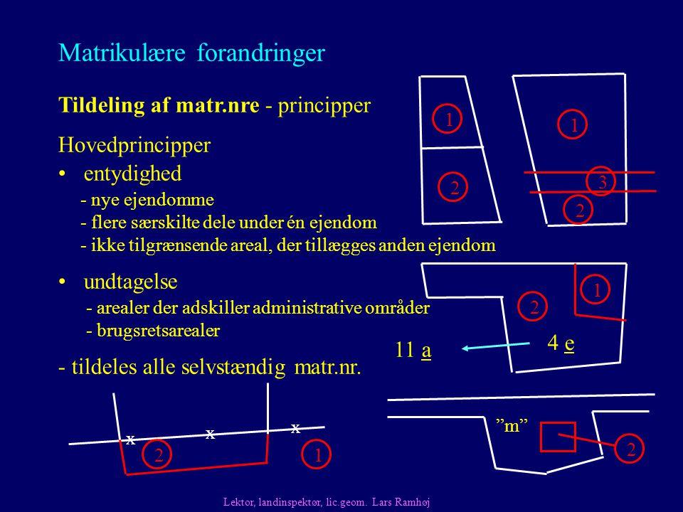 Matrikulære forandringer entydighed Tildeling af matr.nre - principper - tildeles alle selvstændig matr.nr.