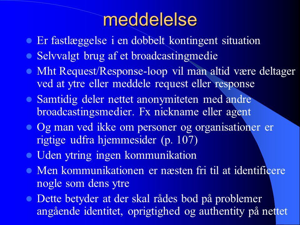 meddelelse Er fastlæggelse i en dobbelt kontingent situation Selvvalgt brug af et broadcastingmedie Mht Request/Response-loop vil man altid være deltager ved at ytre eller meddele request eller response Samtidig deler nettet anonymiteten med andre broadcastingsmedier.