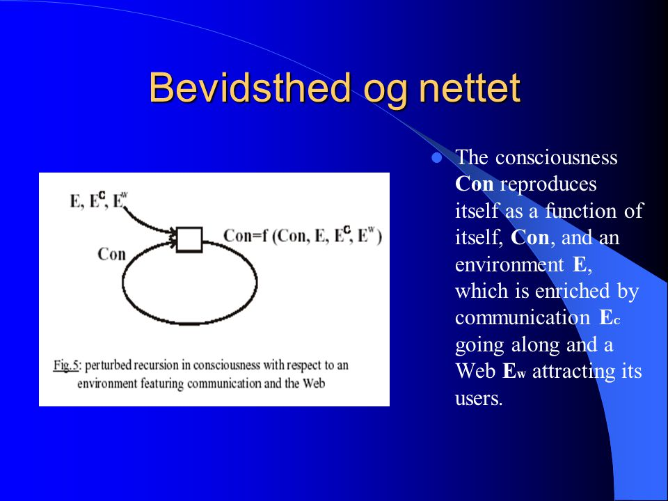 Bevidsthed og nettet The consciousness Con reproduces itself as a function of itself, Con, and an environment E, which is enriched by communication E C going along and a Web E W attracting its users.