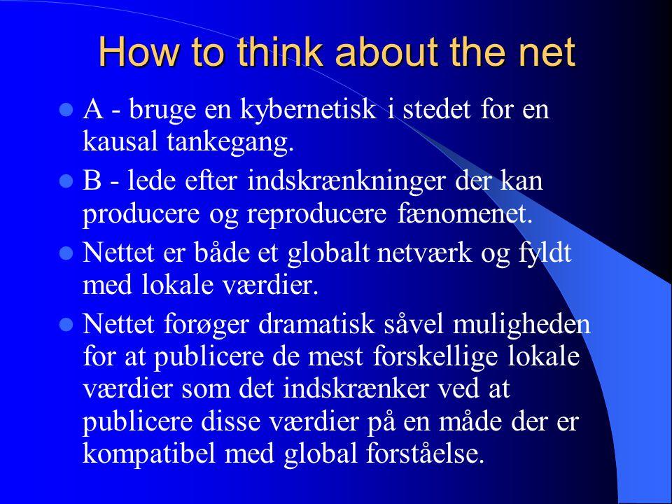 How to think about the net A - bruge en kybernetisk i stedet for en kausal tankegang.