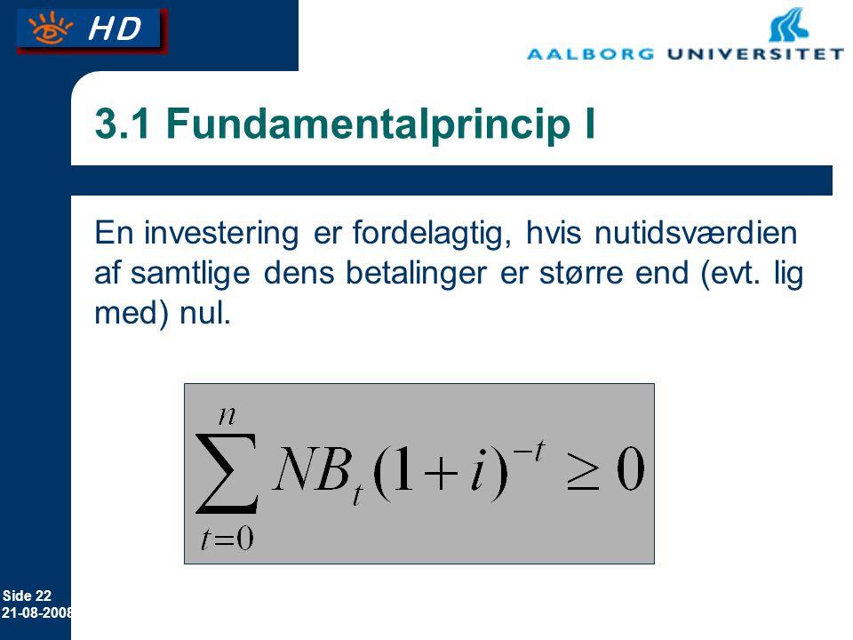 Side 22 21-08-2008 3.1 Fundamentalprincip I En investering er fordelagtig, hvis nutidsværdien af samtlige dens betalinger er større end (evt.