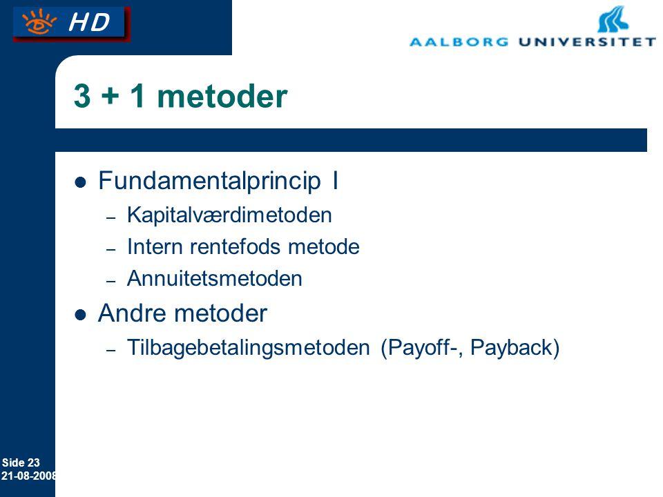 Side 23 21-08-2008 3 + 1 metoder Fundamentalprincip I – Kapitalværdimetoden – Intern rentefods metode – Annuitetsmetoden Andre metoder – Tilbagebetalingsmetoden (Payoff-, Payback)