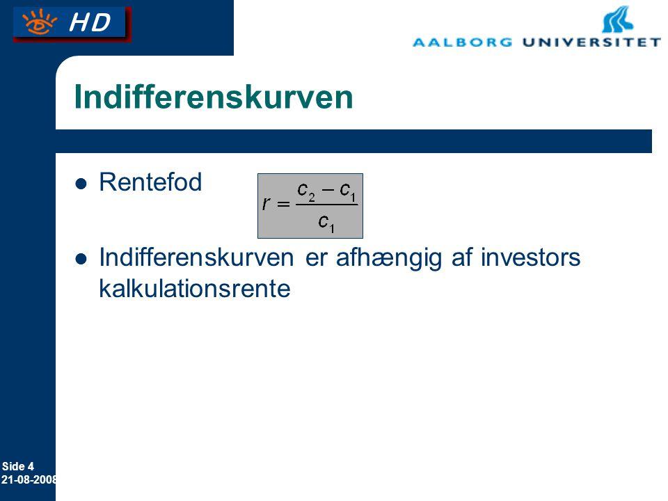 Side 4 21-08-2008 Indifferenskurven Rentefod Indifferenskurven er afhængig af investors kalkulationsrente