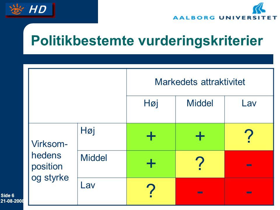 Side 6 21-08-2008 Politikbestemte vurderingskriterier Markedets attraktivitet HøjMiddelLav Virksom- hedens position og styrke Høj ++.