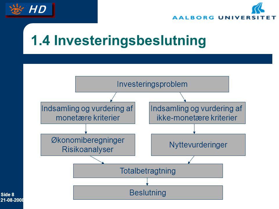 Side 8 21-08-2008 1.4 Investeringsbeslutning Investeringsproblem Indsamling og vurdering af monetære kriterier Indsamling og vurdering af ikke-monetære kriterier Økonomiberegninger Risikoanalyser Nyttevurderinger Totalbetragtning Beslutning