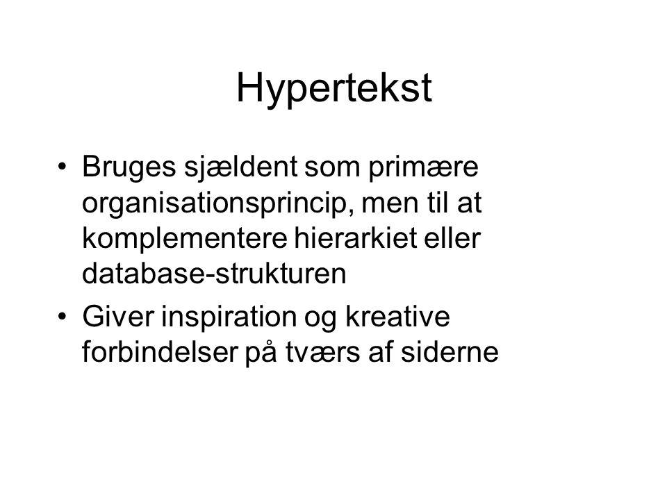 Hypertekst Bruges sjældent som primære organisationsprincip, men til at komplementere hierarkiet eller database-strukturen Giver inspiration og kreative forbindelser på tværs af siderne