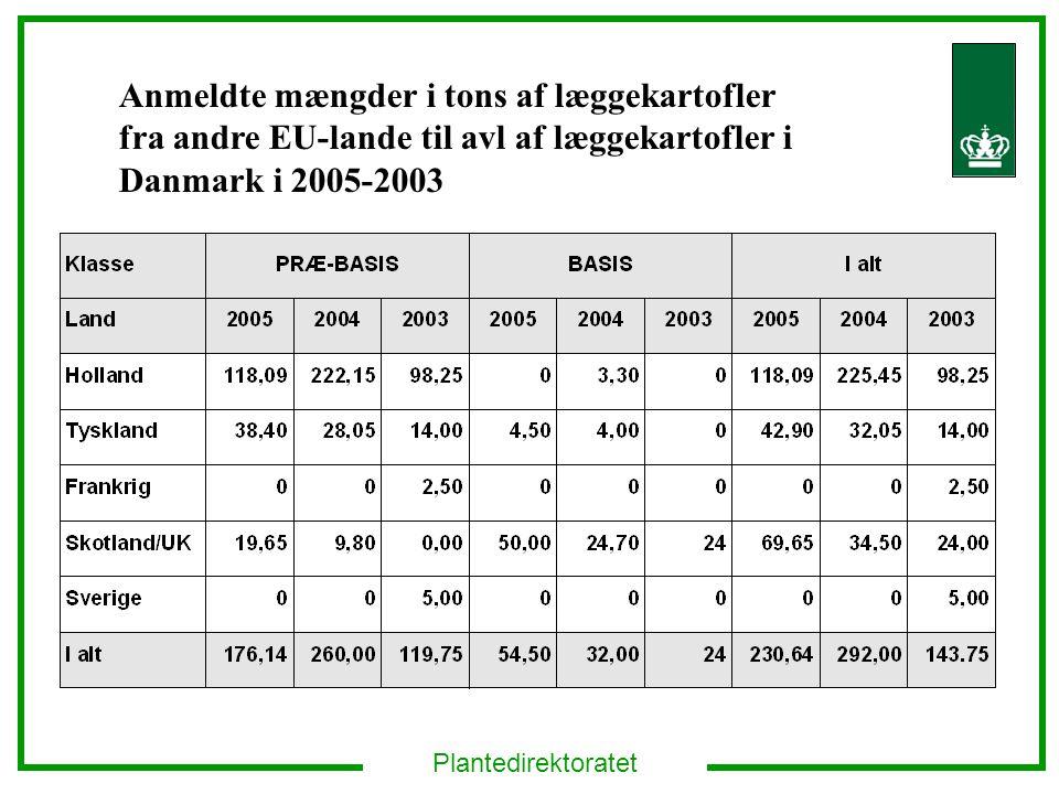 Anmeldte mængder i tons af læggekartofler fra andre EU-lande til avl af læggekartofler i Danmark i 2005-2003