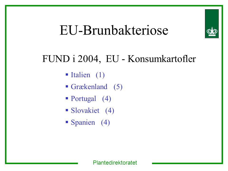 Plantedirektoratet EU-Brunbakteriose FUND i 2004, EU - Konsumkartofler  Italien (1)  Grækenland (5)  Portugal (4)  Slovakiet (4)  Spanien (4)