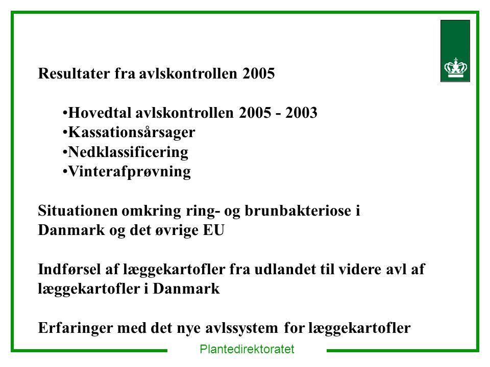 Plantedirektoratet Resultater fra avlskontrollen 2005 Hovedtal avlskontrollen 2005 - 2003 Kassationsårsager Nedklassificering Vinterafprøvning Situationen omkring ring- og brunbakteriose i Danmark og det øvrige EU Indførsel af læggekartofler fra udlandet til videre avl af læggekartofler i Danmark Erfaringer med det nye avlssystem for læggekartofler