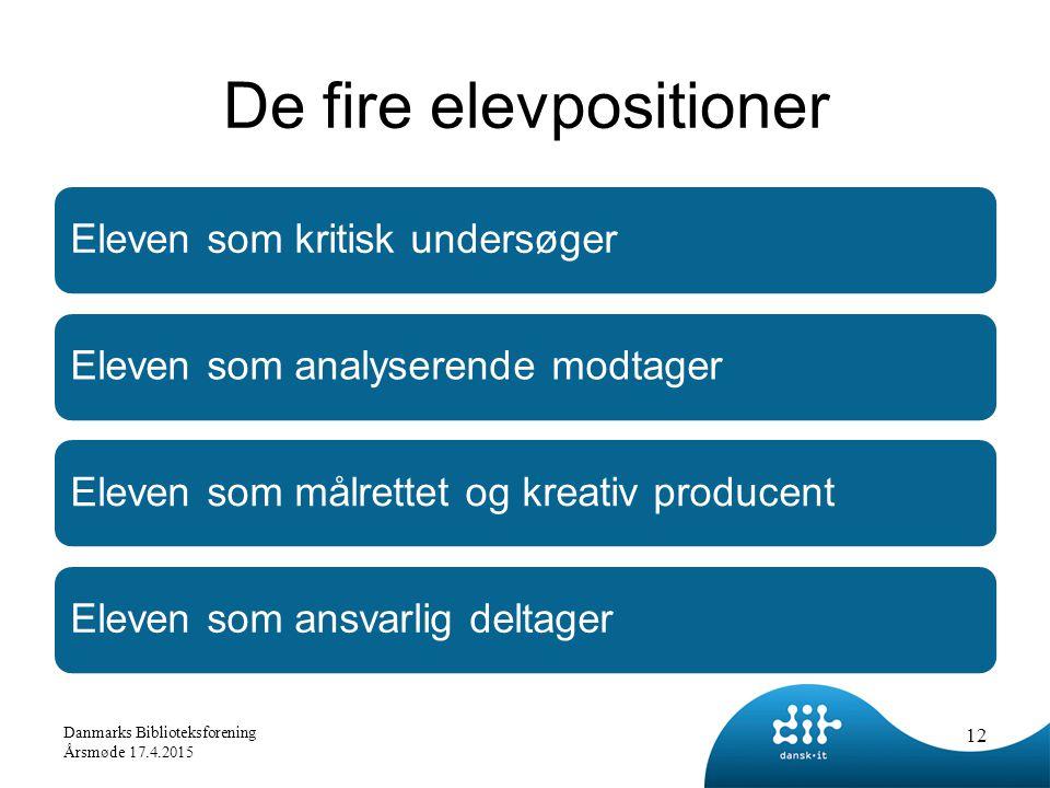 De fire elevpositioner Eleven som kritisk undersøgerEleven som analyserende modtagerEleven som målrettet og kreativ producentEleven som ansvarlig deltager 12 Danmarks Biblioteksforening Årsmøde 17.4.2015
