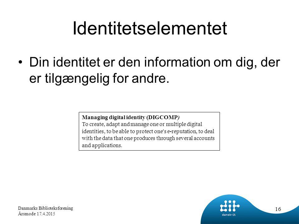 Identitetselementet Din identitet er den information om dig, der er tilgængelig for andre.