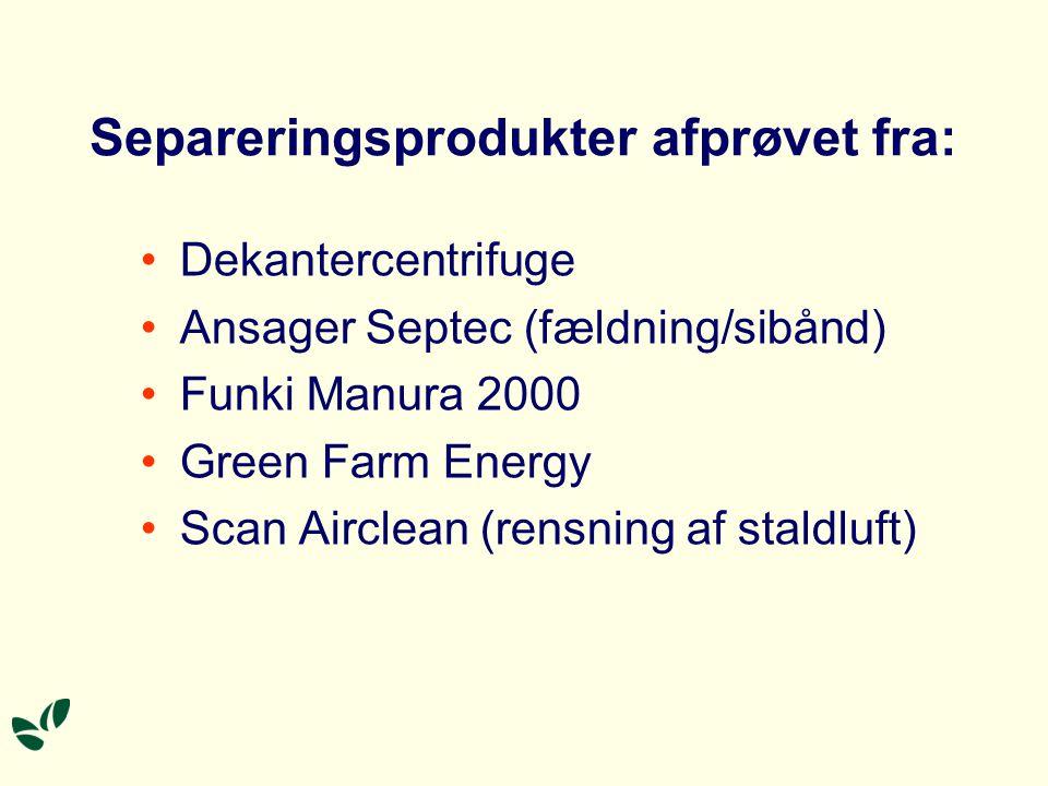 Separeringsprodukter afprøvet fra: Dekantercentrifuge Ansager Septec (fældning/sibånd) Funki Manura 2000 Green Farm Energy Scan Airclean (rensning af staldluft)