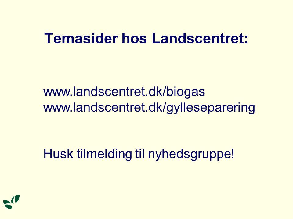Temasider hos Landscentret: www.landscentret.dk/biogas www.landscentret.dk/gylleseparering Husk tilmelding til nyhedsgruppe!