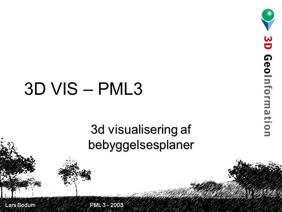 Lars Bodum PML 3 - 2003 3D VIS – PML3 3d visualisering af bebyggelsesplaner