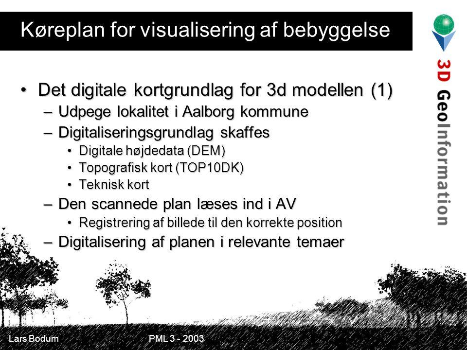 Køreplan for visualisering af bebyggelse Det digitale kortgrundlag for 3d modellen (1)Det digitale kortgrundlag for 3d modellen (1) –Udpege lokalitet i Aalborg kommune –Digitaliseringsgrundlag skaffes Digitale højdedata (DEM)Digitale højdedata (DEM) Topografisk kort (TOP10DK)Topografisk kort (TOP10DK) Teknisk kortTeknisk kort –Den scannede plan læses ind i AV Registrering af billede til den korrekte positionRegistrering af billede til den korrekte position –Digitalisering af planen i relevante temaer