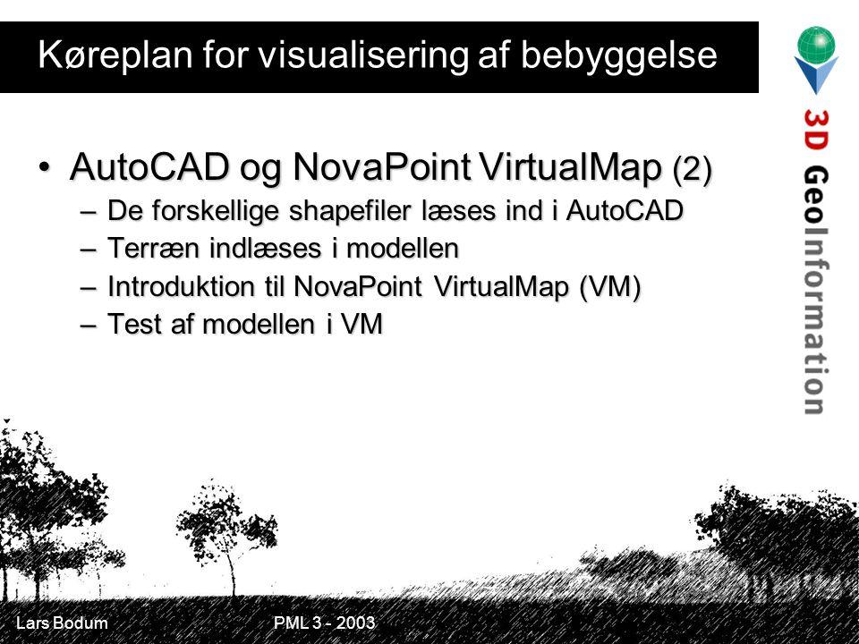 Lars Bodum PML 3 - 2003 Køreplan for visualisering af bebyggelse AutoCAD og NovaPoint VirtualMap (2)AutoCAD og NovaPoint VirtualMap (2) –De forskellige shapefiler læses ind i AutoCAD –Terræn indlæses i modellen –Introduktion til NovaPoint VirtualMap (VM) –Test af modellen i VM