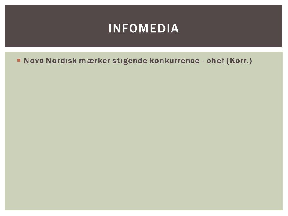 Novo Nordisk mærker stigende konkurrence - chef (Korr.) INFOMEDIA