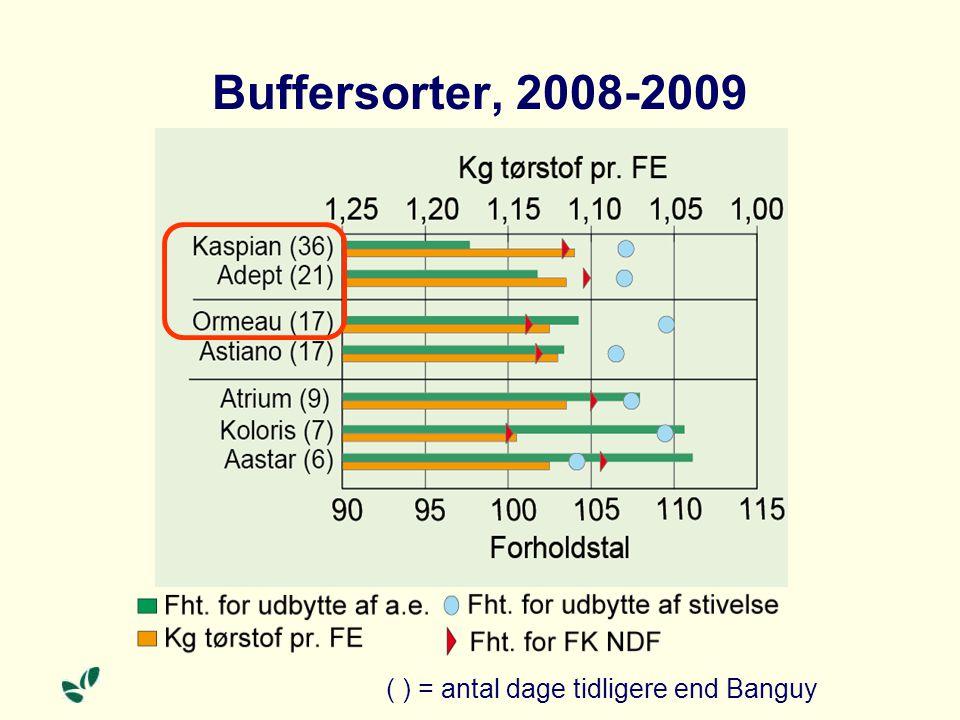 Buffersorter, 2008-2009 ( ) = antal dage tidligere end Banguy
