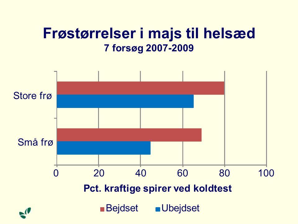 Frøstørrelser i majs til helsæd 7 forsøg 2007-2009 020406080100 Små frø Store frø Pct.