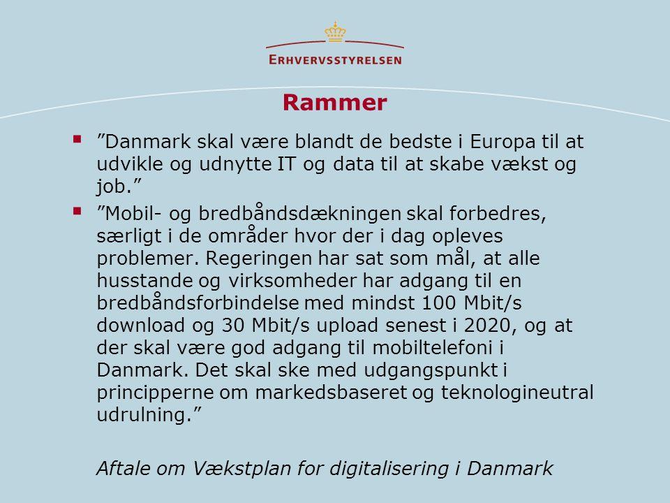 Rammer  Danmark skal være blandt de bedste i Europa til at udvikle og udnytte IT og data til at skabe vækst og job.  Mobil- og bredbåndsdækningen skal forbedres, særligt i de områder hvor der i dag opleves problemer.