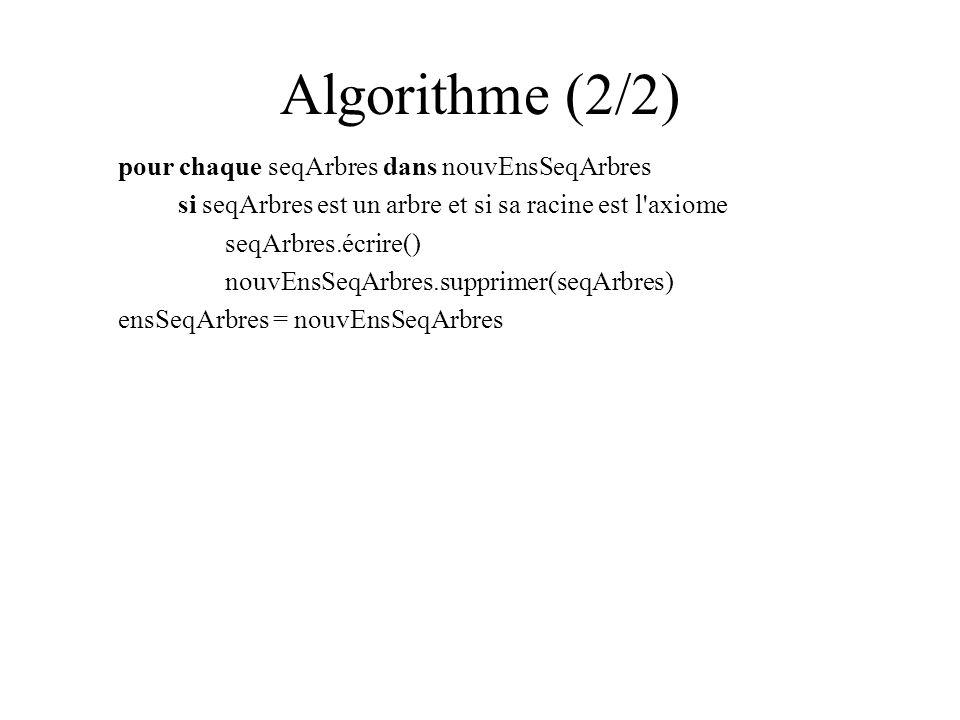 Algorithme (2/2) pour chaque seqArbres dans nouvEnsSeqArbres si seqArbres est un arbre et si sa racine est l axiome seqArbres.écrire() nouvEnsSeqArbres.supprimer(seqArbres) ensSeqArbres = nouvEnsSeqArbres