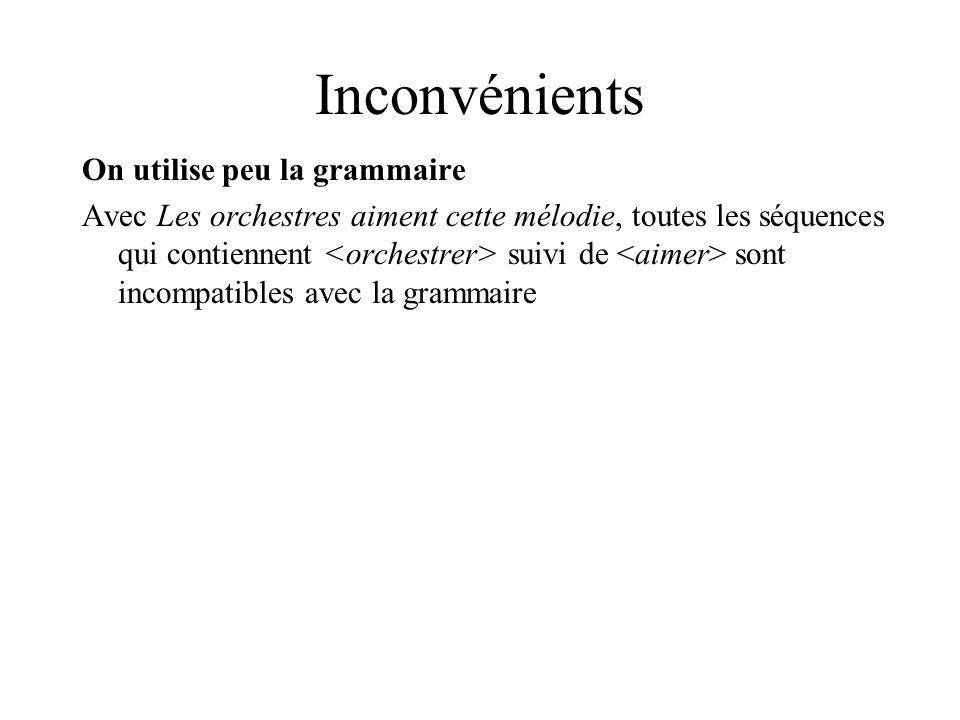 Inconvénients On utilise peu la grammaire Avec Les orchestres aiment cette mélodie, toutes les séquences qui contiennent suivi de sont incompatibles avec la grammaire