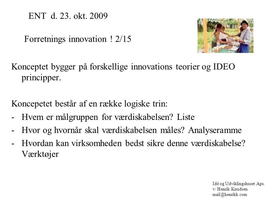Konceptet bygger på forskellige innovations teorier og IDEO principper.