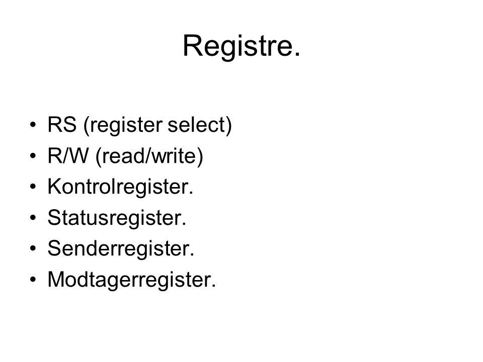 Registre. RS (register select) R/W (read/write) Kontrolregister.