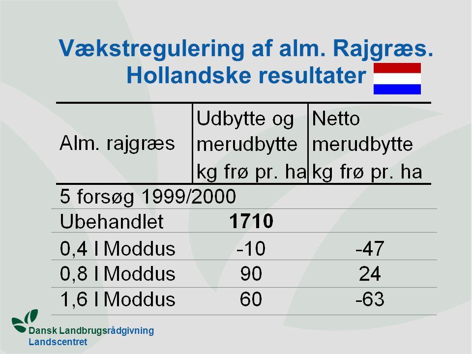 Dansk Landbrugsrådgivning Landscentret Vækstregulering af alm. Rajgræs. Hollandske resultater