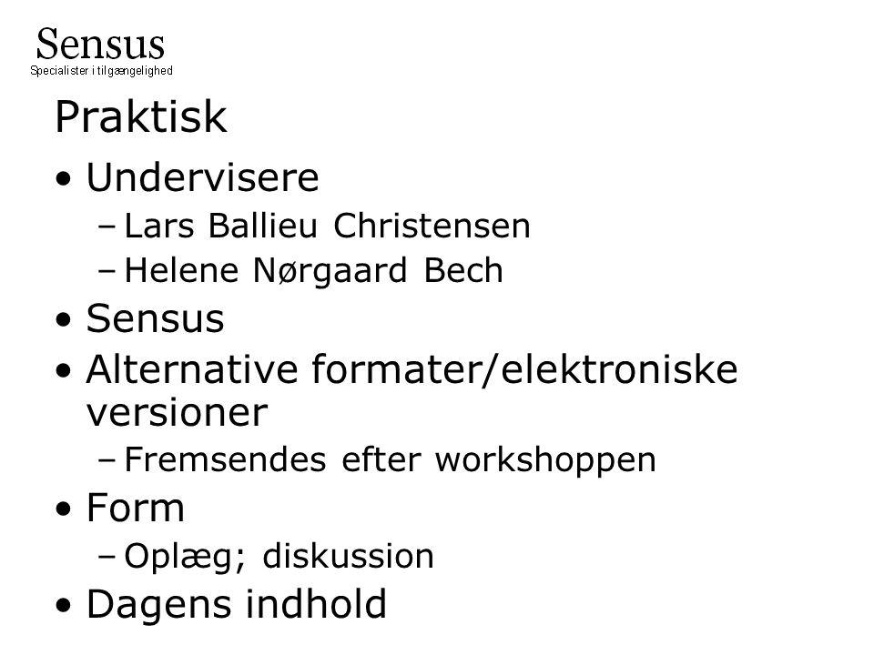Praktisk Undervisere –Lars Ballieu Christensen –Helene Nørgaard Bech Sensus Alternative formater/elektroniske versioner –Fremsendes efter workshoppen Form –Oplæg; diskussion Dagens indhold