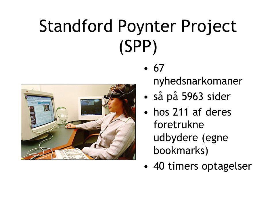 Standford Poynter Project (SPP) 67 nyhedsnarkomaner så på 5963 sider hos 211 af deres foretrukne udbydere (egne bookmarks) 40 timers optagelser
