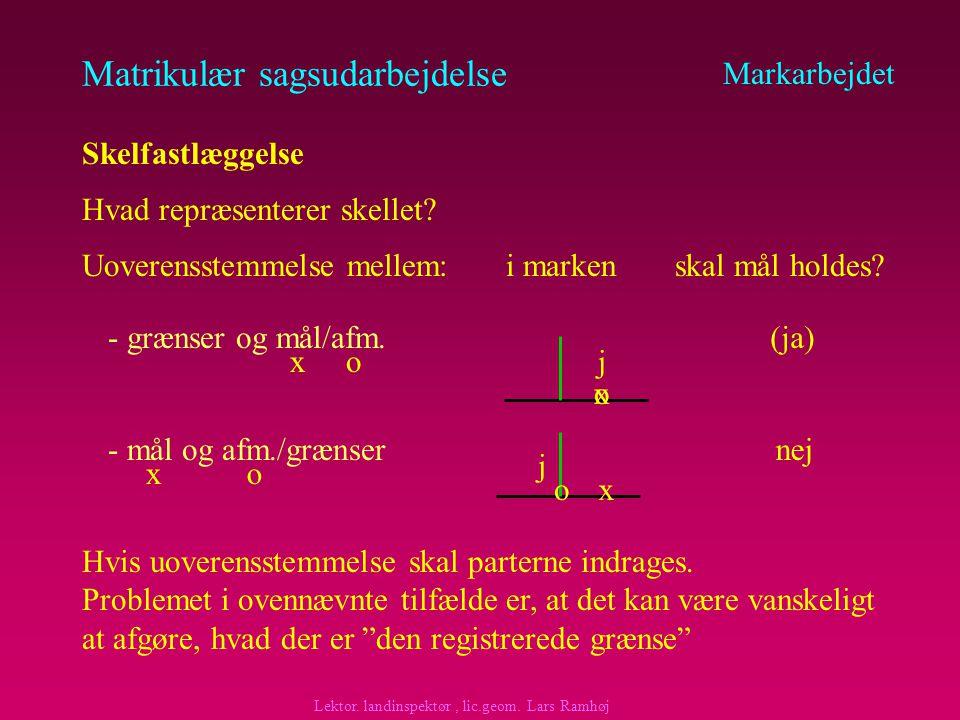 Matrikulær sagsudarbejdelse at grænsen i marken registreres som skel, idet parterne tilsyneladende accepterer denne grænse som faktisk skel at afmærkningen derfor fastholdes, således at målingen tilsidesættes, hvis der er uoverensstemmelse mellem de faktiske grænser eller af- mærkning hvilket nødvendiggør, at der registreres nye mål til skellet som sker på grundlag af en matrikulær sag (ikke teknisk ændring) Markarbejdet Skelfastlæggelse (eksempel fortsat) Udgangspunktet er, at matriklens registrering skal fastholdes, men her er der modstrid.