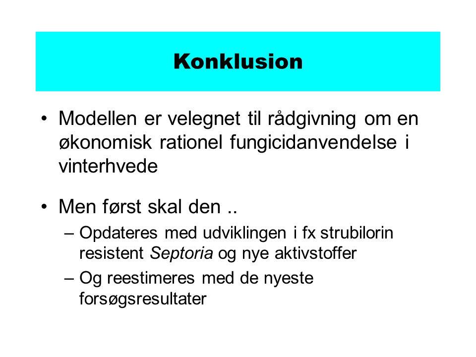 Konklusion Modellen er velegnet til rådgivning om en økonomisk rationel fungicidanvendelse i vinterhvede Men først skal den..