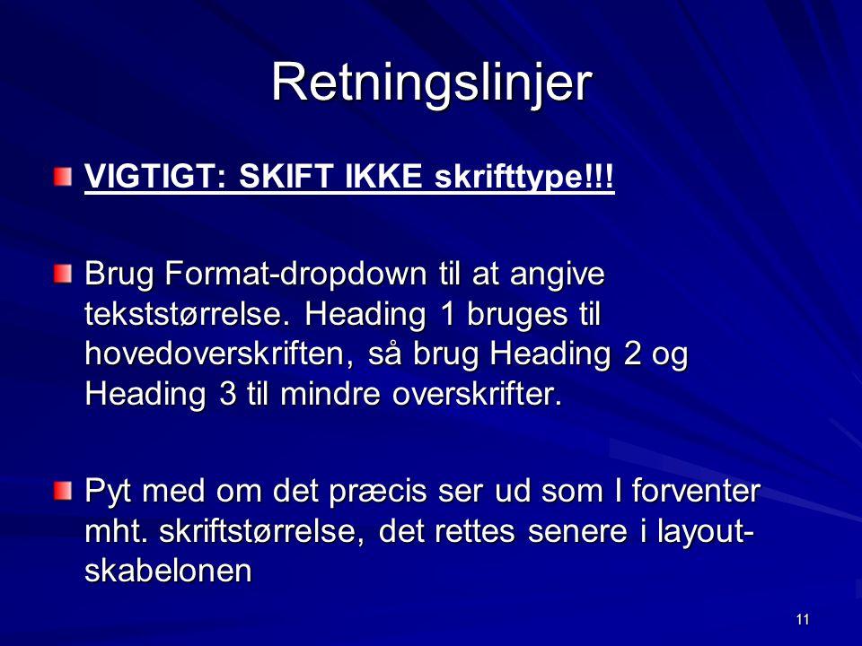11 Retningslinjer VIGTIGT: SKIFT IKKE skrifttype!!.