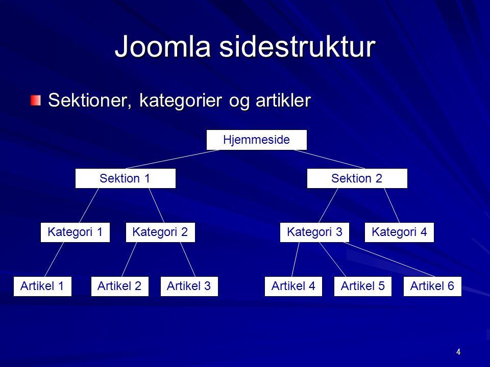 4 Joomla sidestruktur Sektioner, kategorier og artikler Sektion 1 Hjemmeside Sektion 2 Kategori 1Kategori 2Kategori 3Kategori 4 Artikel 1Artikel 2Artikel 3Artikel 4Artikel 5Artikel 6
