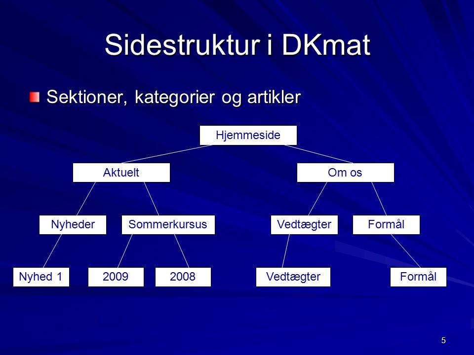 5 Sidestruktur i DKmat Sektioner, kategorier og artikler Aktuelt Hjemmeside Om os NyhederSommerkursusVedtægterFormål Nyhed 120092008VedtægterFormål