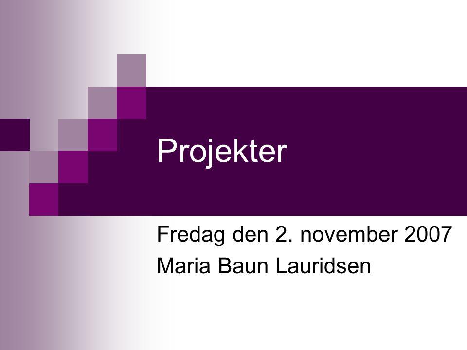 Projekter Fredag den 2. november 2007 Maria Baun Lauridsen