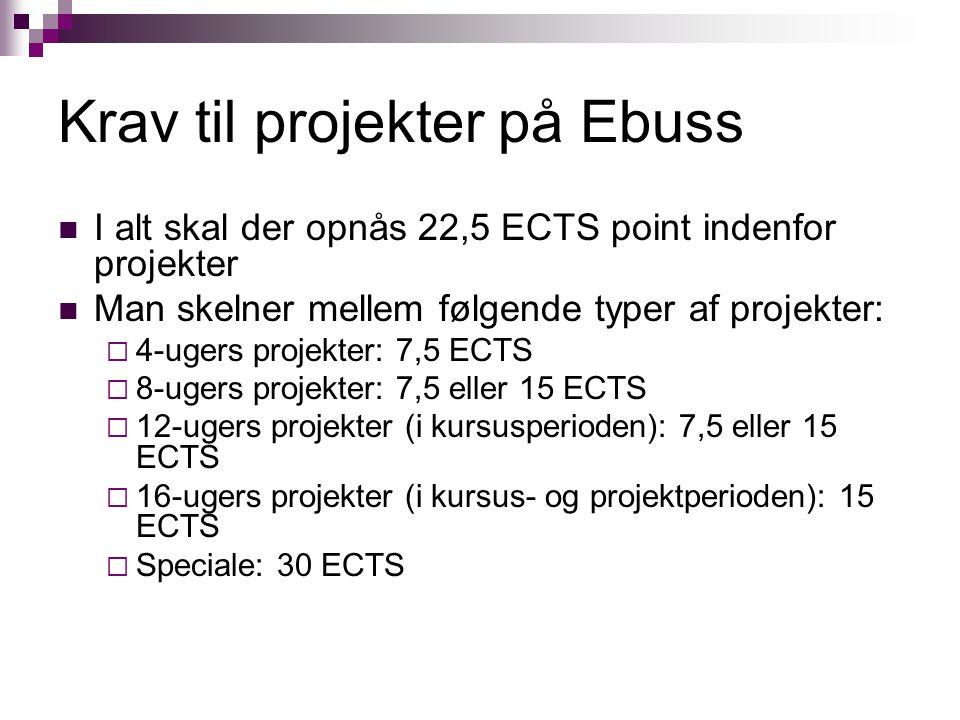 Krav til projekter på Ebuss I alt skal der opnås 22,5 ECTS point indenfor projekter Man skelner mellem følgende typer af projekter:  4-ugers projekter: 7,5 ECTS  8-ugers projekter: 7,5 eller 15 ECTS  12-ugers projekter (i kursusperioden): 7,5 eller 15 ECTS  16-ugers projekter (i kursus- og projektperioden): 15 ECTS  Speciale: 30 ECTS